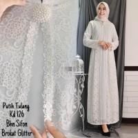 Full Brukat Tebal Baju Gamis Syari Putih Lebaran Umroh Modern