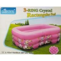 Kolam Renang Anak 3-Ring Rectangle Crystal Pool SYA-1233 153cm - Pink