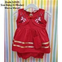 Baju Newborn Anak Bayi Perempuan Semi Rompi Bordir Kancing China