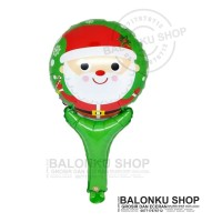 Balon Foil Tongkat Natal Kepala Santa / Balon Pentung Natal