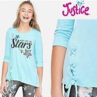 Promo Baju Anak Kaos Flip Sequin Branded Justice Blue Shine Stars 6-12