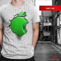 Kaos Print 3D Unik Limited Apple Logo Baju Pria Wanita Anak