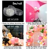 Chain Baloons / Stripe tape balon dekorasi / Strip Balon Arch Garland