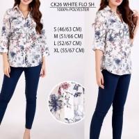 Blouse Calvin Klein White Floral Shirt CK26