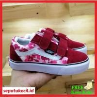 Sepatu Anak Perempuan Vans Oldskool Bape Army Pink Perekat Size 21 35