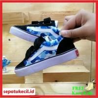 Sepatu Sneakers Anak Vans Oldskool Bape Army Perekat Size 21 35