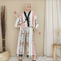 setelan kimono ethnic celana kulot kain tenun jepara blanket AT001