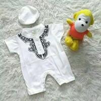 Baju koko anak bayi cowok aqiqah bayi romper jumper koko putih newborn - silver