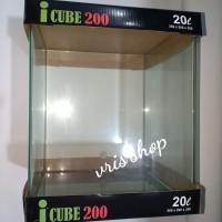 icube 200 kandila aquarium kaca bending 20 liter Size 26x26x30cm