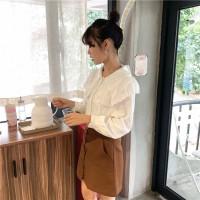 SH Xiaozhainv Kerah boneka wanita Korea longgar atasan baju sifon