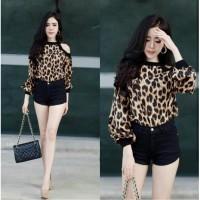 SG-480 BL savana loreng/blouse bahu bolong/tunik lengan panjang murah