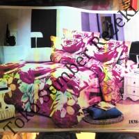Bedcover Motif Bunga 180x200cm Warna Pink Halus Tidak Panas King Size