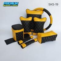 Perlengkapan Mudik - Set bantal mobil 5 in 1 / Bantal Mobil Kuning