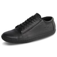 Sepatu Sneakers Pria Kulit D12 Black - Atmal -38-43 Ukuran Jumbo 44-46 - 38