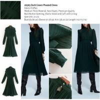 Dark Green Pleated Dress (size S,M,L) -28583