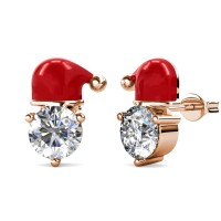 Santa solitaire red hat - Anting Crystal by Her Jewellery