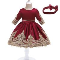 Dress anak perempuan pakaian pesta ulang tahun baju lebaran anak - 110, Merah