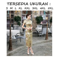 Dress cheongsam zhongsan hanfu qipao panjang gold kuning imlek sincia