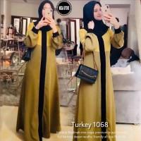 GAMIS ABAYA PREMIUM turkey 1068 JETBLACK mix CREPE high quality