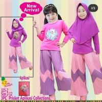Baju Muslim Anak Little Pineapple Frozen Pink Ungu LED Kulot Plisket