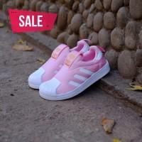 Sepatu anak Adidas superstar 360 slip on pink white..