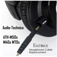 Earmax Headphone Cable Replacement Audio Technica ATH-M50X M40x M70x