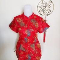 Baju/Atasan/Imlek Cheongsam Wanita Dewasa bahan Satin S,L,XL,XXL,XXXL