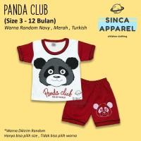 Baju Setelan Anak Bayi Lengan Pendek [Set Kaos Celana] - Panda Club B