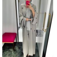 Lucu Muslim Women Robe Embroidery Abaya Open Cardigan Dubai Paryer
