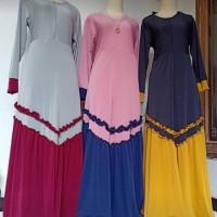 Baju Gamis Syari Jersey Rempel Bawah V Modern