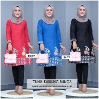 Tunik Kawung Bunga /baju batik eanita /batik modern /baju kantor