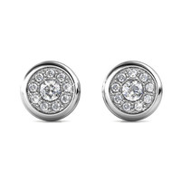 Knob Earrings - Anting Crystal By Her Jewellery - White Gold
