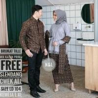 Baju couple rnb brokat tille batik sarimbit kemeja pria lengan panjang
