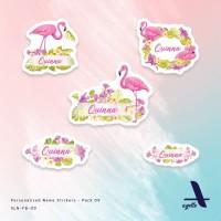 120 PCS - Stiker Label Nama Flamingo Bird - 09 - Laminasi - Waterproof