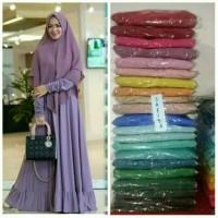 Baju Gamis Syari Safiya Kerut Jersey Rempel Modern