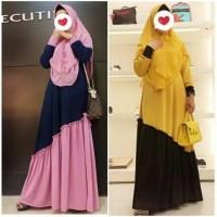 Baju Gamis Syari Jersey Rempel Miring Kombi Modern