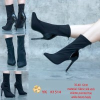 YKshoes 1514 heels 12cm ankle boots pointed toe pump silk sock import