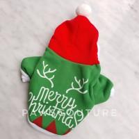 (B47) Baju Hoodie Kostum Natal Christmas Santa Anjing Kucing Hewan