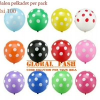 Balon latex polkadot per pack isi 100 / balon polkadot/ polka dot