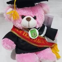 boneka wisuda puffy bear pink dengan selempang wisuda