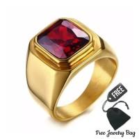 Cincin Pria Ring Gold Titanium emas Pria Premium CCTRGM