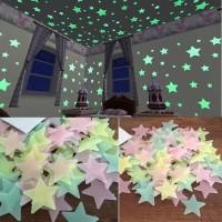 Stiker Dinding Bintang Glow In The Dark Isi 100 Pcs