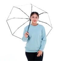 OmBotak Payung LIPAT TRANSPARAN TABASA Bening Korea Jepang Termurah