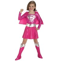 Dress Kostum Superhero SUPERGIRL PINK Baju Cosplay Anak Import