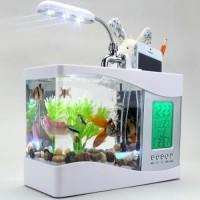 Aquarium Unik dengan Tempat Bolpen dan HP, lampu LED dan Jam Digital