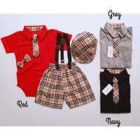 baju pesta fashion setelan jumper suspender dasi topi anak bayi laki