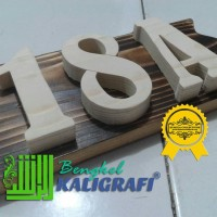 Bikin nomor rumah murah 1 sampai 3 huruf angka dari kayu jati belanda