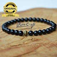 Gelang Tasbih Batu Pria Wanita Black Onyx Hitam Asli 33 Butir Premium