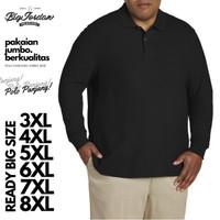 Kaos Polo Shirt Big Size XXXXL XXXL XXL Baju Kerah Pria Lengan Panjang