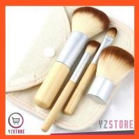 Brush Make Up Bambu Bamboo 4 Set Portable Bonus Cotton Cosmetic Bag
